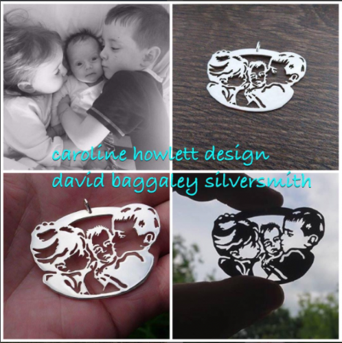 Custom made pendant of your children Handmade by saw piercing from a photo